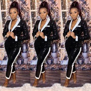 Black & White Sequin Suit Set